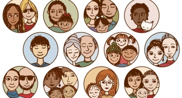 verschillende gezinnen getekend