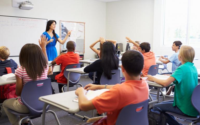 Foto van kinderen in klaslokaal